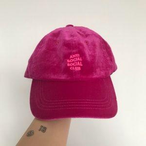 "ANTI SOCIAL SOCIAL CLUB Pink Velvet ""Dad"" Hat"